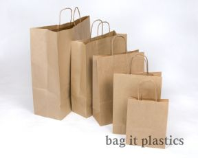 "WHITE & BROWN RIBBED TWIST HANDLE PAPER CARRIER BAGS 12½""  x 5"" x 16½""   /  32cm x 13cm x 42cm"